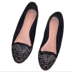 ALDO Gold-Silver Studded Black Slip On Flats